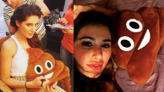 This Lovely Model Is Traveling The World With Her Poop Emoji Pillow, Mr. Fecal