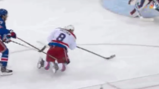 Alex Ovechkin Splits Two Rangers Defenders To Score A Goal From His Knees