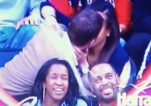 Did Game 5 Wizards-Hawks Feature The Most Staged Kiss Cam Beer Spill Ever?