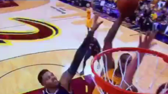 LeBron James Throws Down A Filthy Dunk On Two Defenders