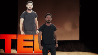 Shia LaBeouf Looks Constipated While Giving This Fake TED Talk