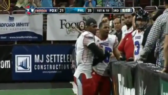 This Arena Football Player Finds Out That Throwing Your Helmet Into The Stands Is A Very Bad Idea