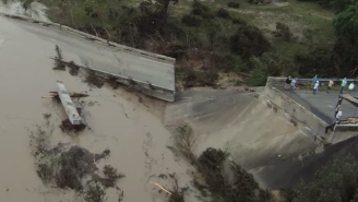 Here's Drone Footage Of A Bridge That Was Destroyed By The Texas Floods