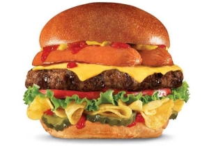 The New Carl's Jr. 'Most American Thickburger' Is Topped With A Hot Dog And Potato Chips