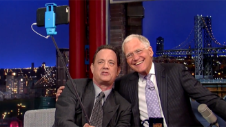 Tom Hanks Gets A Farewell Selfie With David Letterman