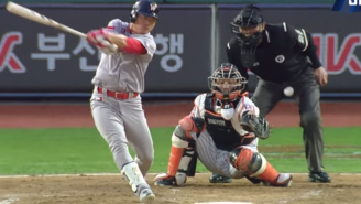 A Baseball Umpire In Korea Was Taken Away On A Stretcher After This Brutal Shot To The Groin