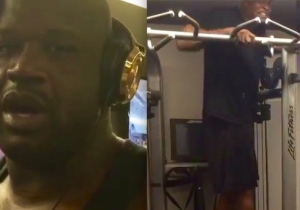 Watch Shaq Easily Lift Weights With Chris Webber Standing On The Machine