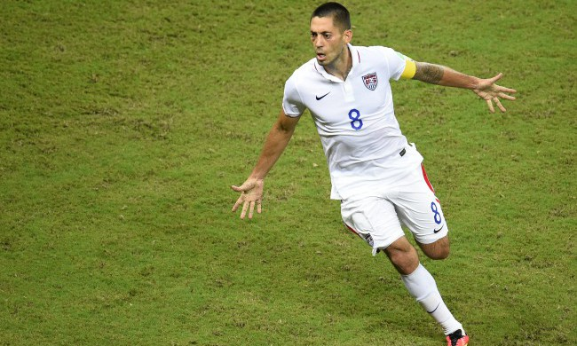 US forward Clint Dempsey celebrates after scoring during a Group G football match between USA and Portugal at the Amazonia Arena in Manaus during the 2014 FIFA World Cup on June 22, 2014.  AFP PHOTO / FABRICE COFFRINI        (Photo credit should read FABRICE COFFRINI/AFP/Getty Images)