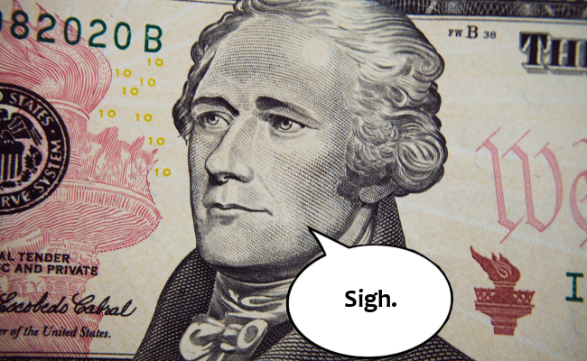 Alexander Hamilton on the 10