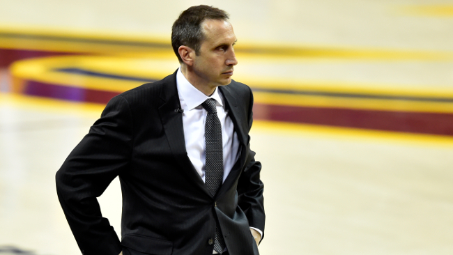 Jun 11, 2015; Cleveland, OH, USA; Cleveland Cavaliers head coach David Blatt reacts during the fourth quarter of game four of the NBA Finals against the Golden State Warriors at Quicken Loans Arena. Mandatory Credit: David Richard-USA TODAY Sports