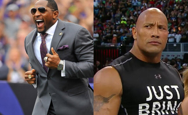 Dwayne The Rock Johnson Ray Lewis team WrestleMania