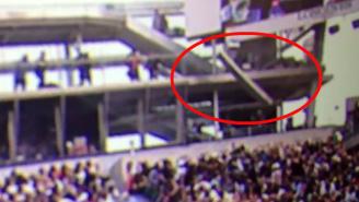 Watch As A Huge Piece Of The French Open Scoreboard Falls On Fans Below