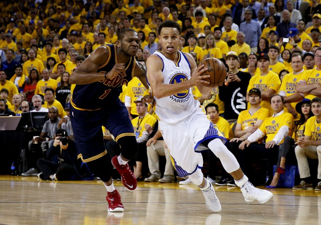during Game Five of the 2015 NBA Finals at ORACLE Arena on June 14, 2015 in Oakland, California. NOTE TO USER: User expressly acknowledges and agrees that, by downloading and or using this photograph, user is consenting to the terms and conditions of Getty Images License Agreement.