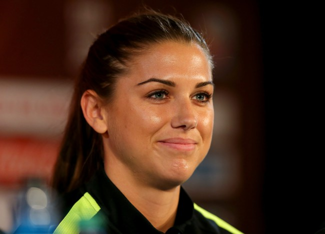 MONTREAL, QC - JUNE 29:  Alex Morgan of the U.S. answers questions during a news conference at Olympic Stadium on June 29, 2015 in Montreal, Canada.  (Photo by Elsa/Getty Images)