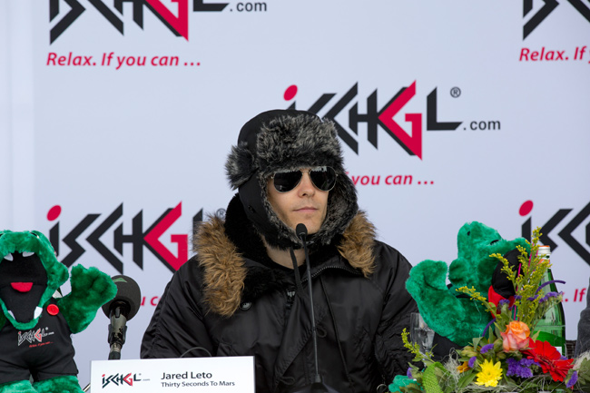 ISCHGL, AUSTRIA - MAY 02: Jared Leto talks to the media at the press conference of the Top of the Mountain concert on May 2, 2015 in Ischgl, Austria. (Photo by Jan Hetfleisch/Getty Images)