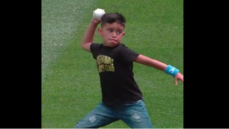 Felix Hernandez's 6-Year-Old Son Flashed A Cannon During A Ceremonial First Pitch