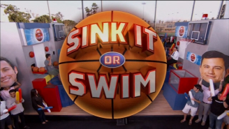Adam Sandler Made Short Work Of Jimmy Kimmel In A 'Sink It Or Swim' Shooting Contest