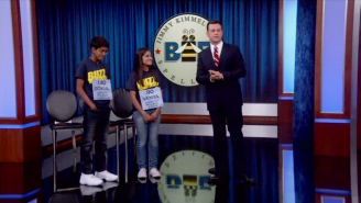 Watch Jimmy Kimmel Take On The 2015 Spelling Bee Champs, With One Twist