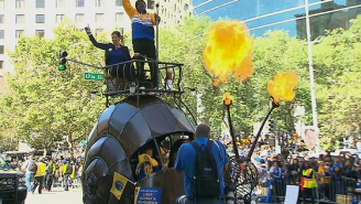 Why Is MC Hammer Riding Atop A Fire-Breathing Snail Car?