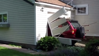 Watch A 91-Year-Old Man Cross 'Smash Car Through A Garage Door' Off His Bucket List