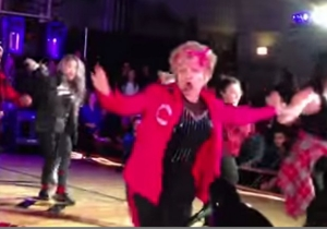 Watch As This 60-Year-Old Teacher Performs An 'Uptown Funk' Dance Routine With Her Students