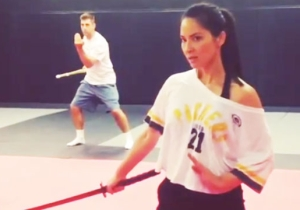 Olivia Munn Demonstrates Why She Was Cast In 'X-Men' (With Help From Aaron Rodgers)