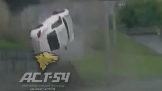 Watch This Insane Dash Cam Footage Of A Porsche Crash Going Airborne