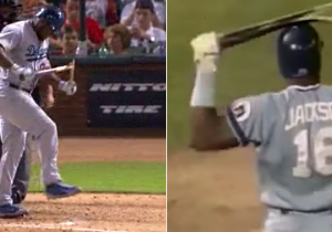 Yasiel Puig Channels Bo Jackson And Snaps His Bat Over His Leg