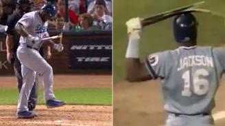 Yasiel Puig Channels Bo Jackson And Snaps His Bat Over His Leg