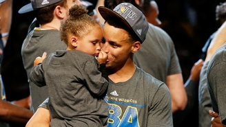 Stephen Curry's Daughter Adorably Demands Her Turn With His Championship Trophy