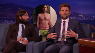 Jason Schwartzman And Adam Scott Had A Lot Of Fun With Their Huge Prosthetic Junk