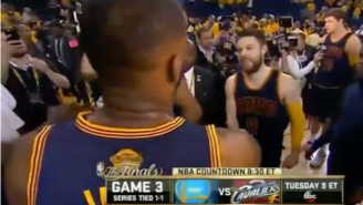 Watch LeBron James Greet Matthew Dellavedova Like He's A Corporate Partner
