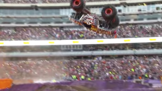 Monster Truck Driver Attempts Front Flip But Doesn't Quite Land It