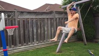 Watch This Awesome Uncle Entertain Small Children With The Help Of A Swing Set And Mini-Hoop