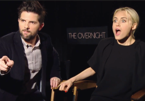 Watch Adam Scott And 'The Overnight' Cast Turn On Each Other And Punch An Interviewer In The Face