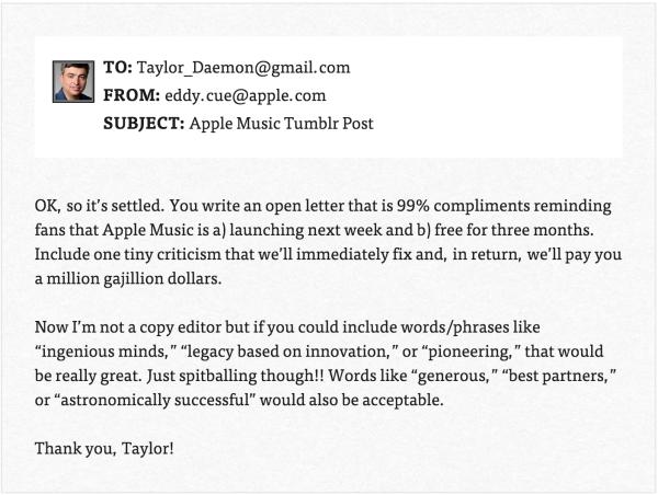 Funny Or Die 'Leaks' Email Exchange Between Taylor Swift, Apple