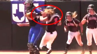 Watch This Softball Catcher Deliver Two Vicious Cheap Shots