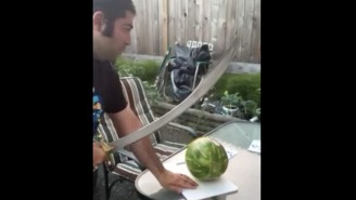 Watch This Horrible Attempt At Cutting A Watermelon With A Sword