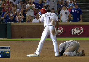 Elvis Andrus Slapped Didi Gregorius Right In The Crotch At Second Base