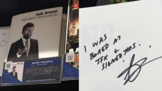 Aziz Ansari Signed A Copy Of 'Modern Romance' At JFK Because He Was 'Bored'