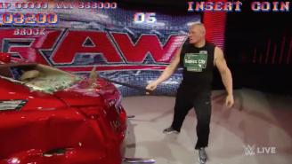 Watch Brock Lesnar Destroy A Car, 'Street Fighter II' Bonus Stage Style
