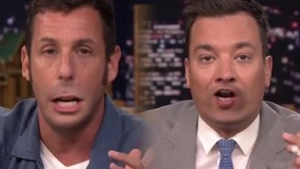 Watch As Adam Sandler Plays The 'Lip Flip' Game With Jimmy Fallon On 'The Tonight Show'