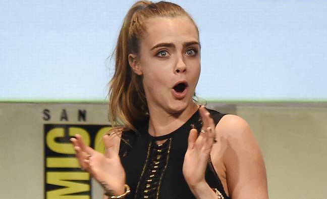 SAN DIEGO, CA - JULY 11:  Actress Cara Delevingne attends the Warner Bros. 'Suicide Squad' presentation during Comic-Con International 2015 at the San Diego Convention Center on July 11, 2015 in San Diego, California.  (Photo by Kevin Winter/Getty Images)
