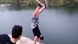Watch This Drunk Bro Do A Handstand Near A Cliff And Regret It