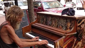 Enjoy This Homeless Man's Entertaining Piano Rendition Of Styx's 'Come Sail Away'