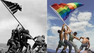 This Gay Pride Adaptation Of An Iconic War Photo Has Sparked A Fierce Online Debate