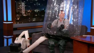 Andy Samberg Told Kimmel About '7 Days In Hell' While In A Bubble Boy Unit