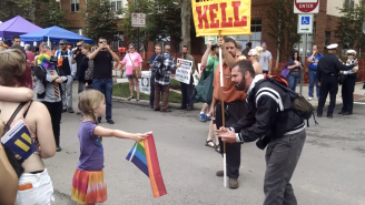 A Little Girl With A Rainbow Flag Wouldn't Back Down From A Hate-Spewing Preacher