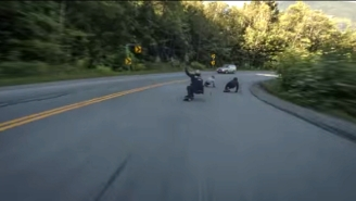 Watch These Insane Longboarders Cheat Death With This Wild Ride