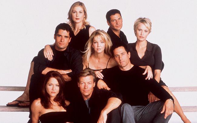 The 7Th Year Of Melrose Place (L) To R John Haynnes Newton Kelly Rutherford Rob Estes Heath